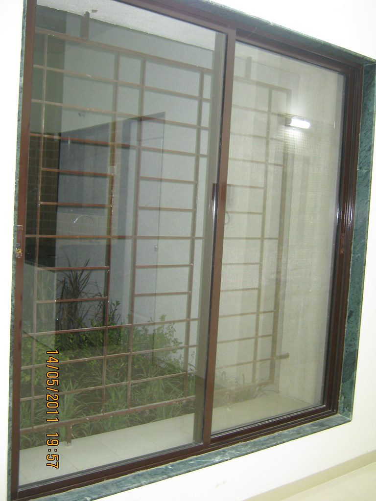 6 feet powder coated aluminium sliding window with a mosqu for Window net design