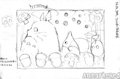 sketch for bento #42: Totoro parade!