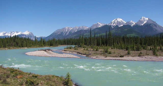 The Kootenay River As It Flows Through Kootenay National P