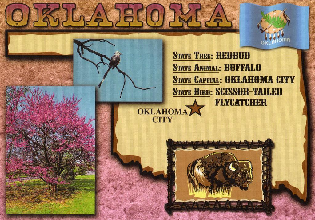oklahoma state symbols map postcard