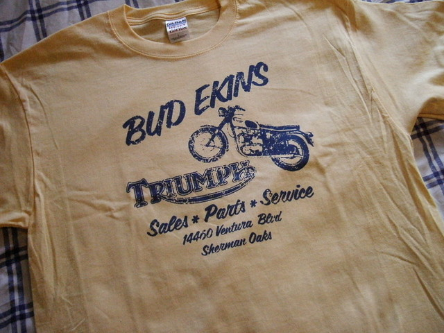 retro bud ekins replica triumph tshirt i made a couple