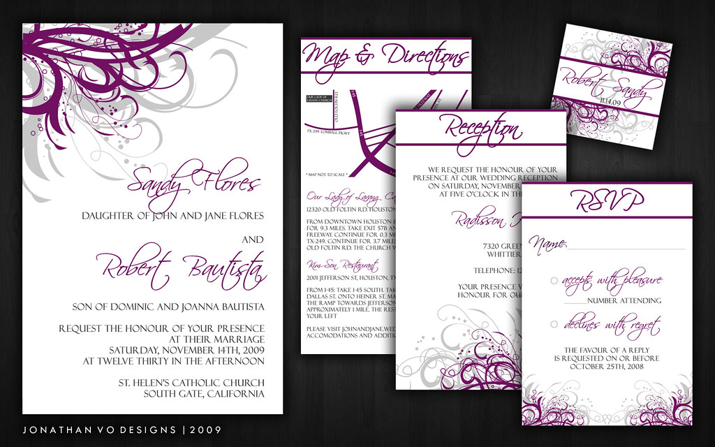 Silver And Purple Wedding Invitations: Purple And Silver (Gray) Wedding Invitations