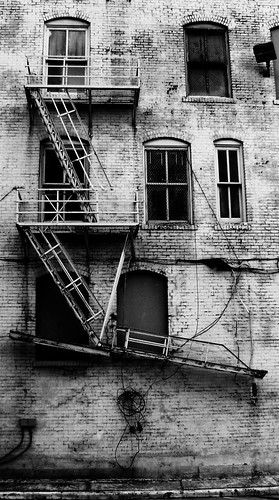 Fire Escape, Downtown Houston, Texas  1101091637BW | by Patrick Feller