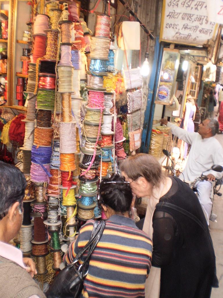 Chandni Chowk Kinari Bazaar Thread Shop Delhi India 2