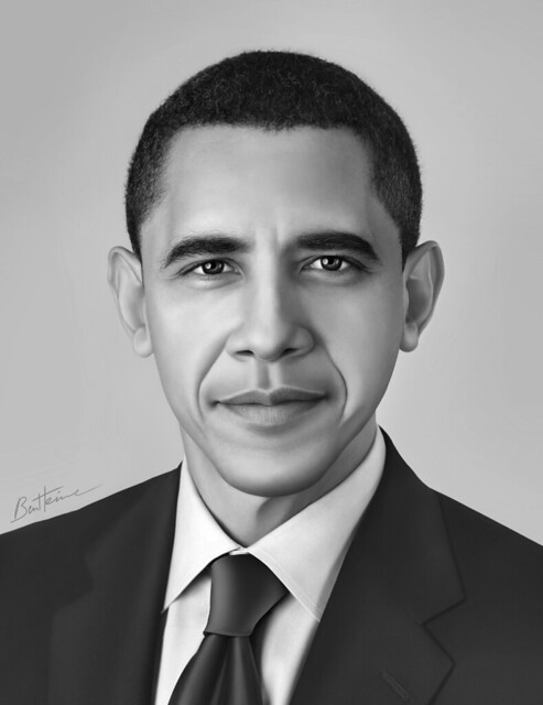 Barack obama realistic portrait 1 by ben heine