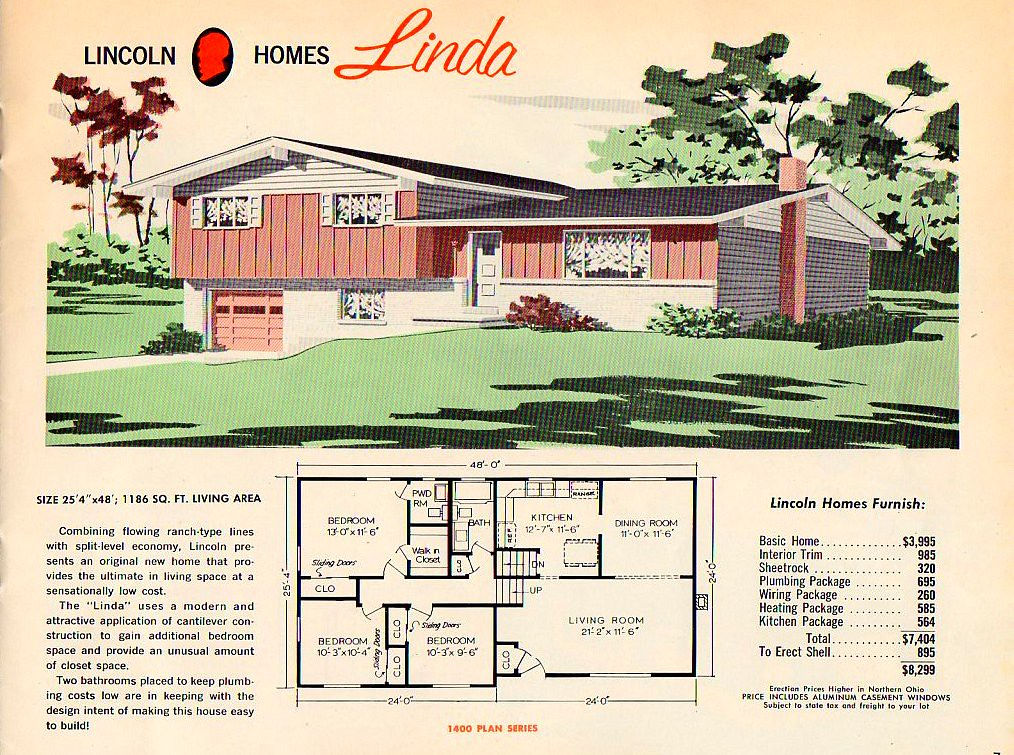 Split level house plans 1960s for 3 level homes