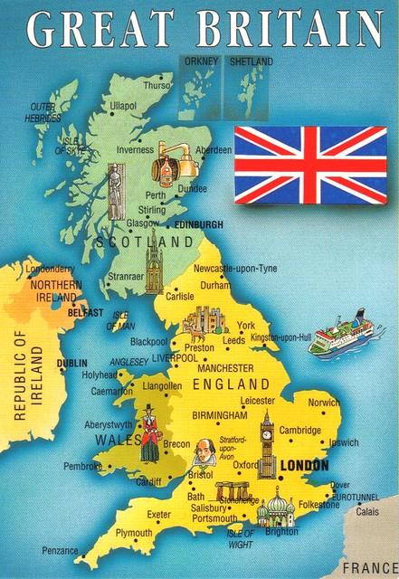 Great Britain map postcard Erin