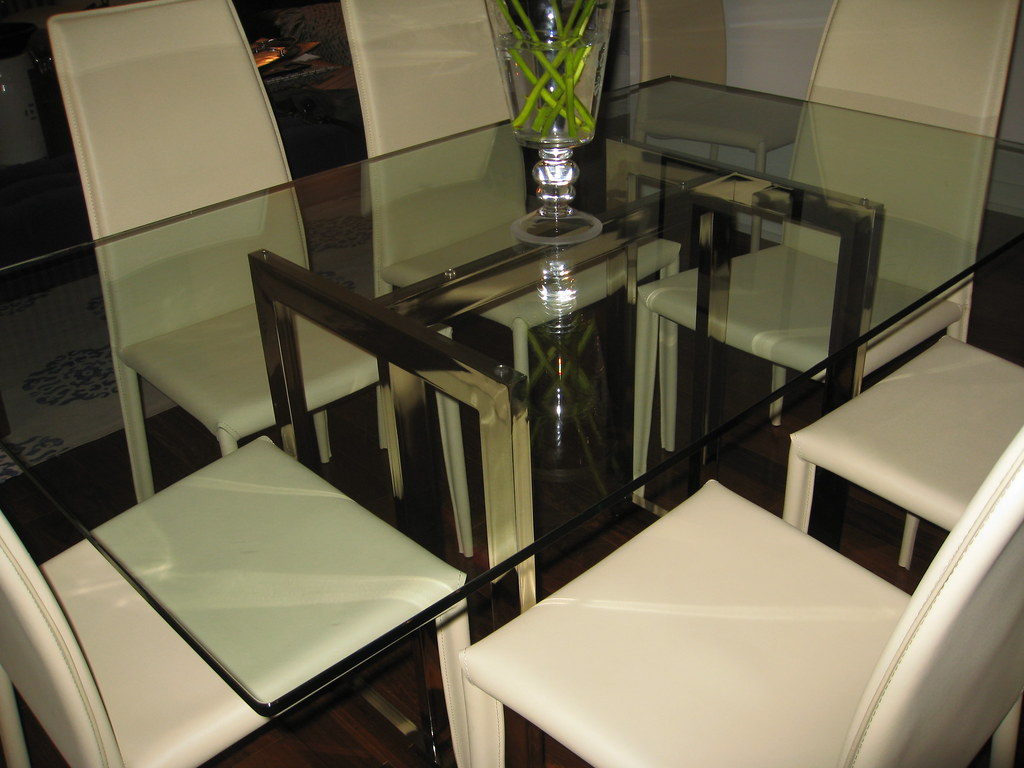West Elm Hicks Glass Top Dining Table And Chairs Flickr - West elm glass top dining table