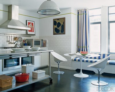 Modern white kitchen: Saarinen table + window seat + Philippe ...
