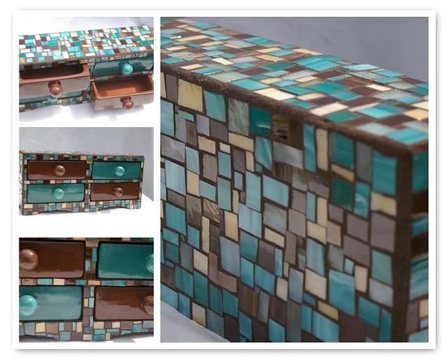 Mosaic Jewelry Box 1 Custom 4 Drawer Jewlery Box Teal B Flickr