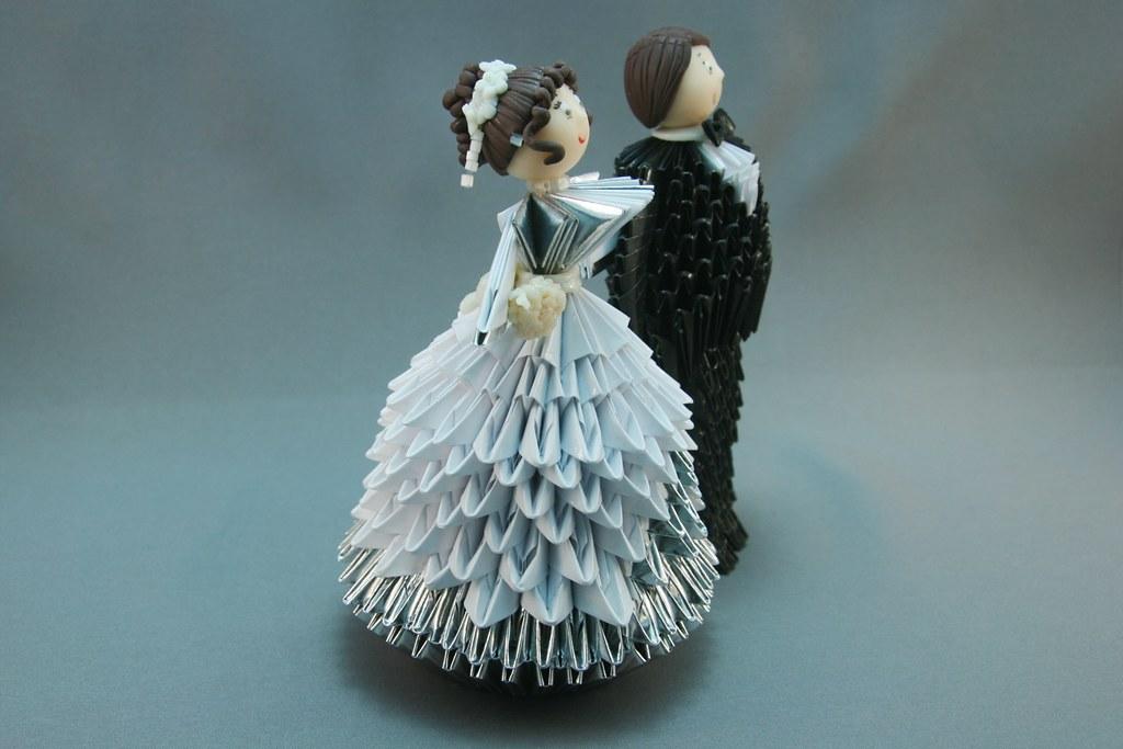 casal de noivos em origami 3d mimo artesanato flickr