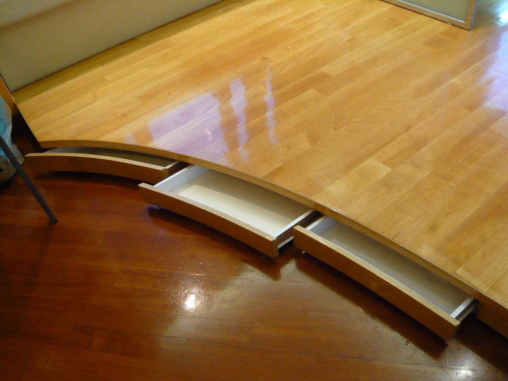 2 living room drawer in raised floor for storage flickr for Elevated floor