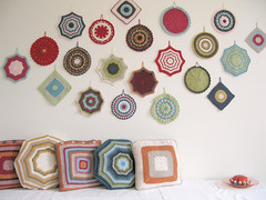 crochet potholder wall art and granny cushions | by emma lamb : living in colour