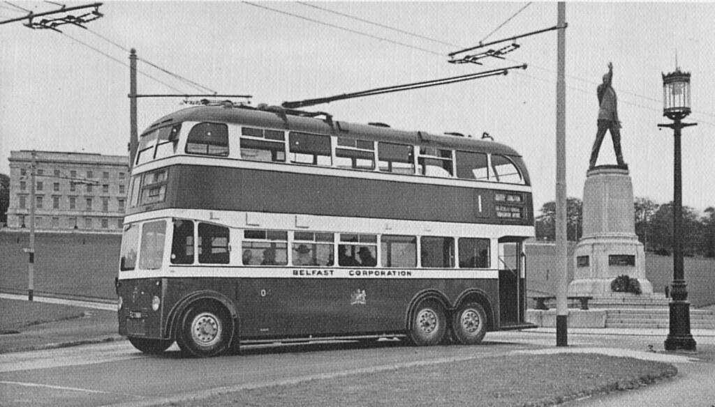 A 1950s Belfast Trolleybus The Statue Of Edward Carson An