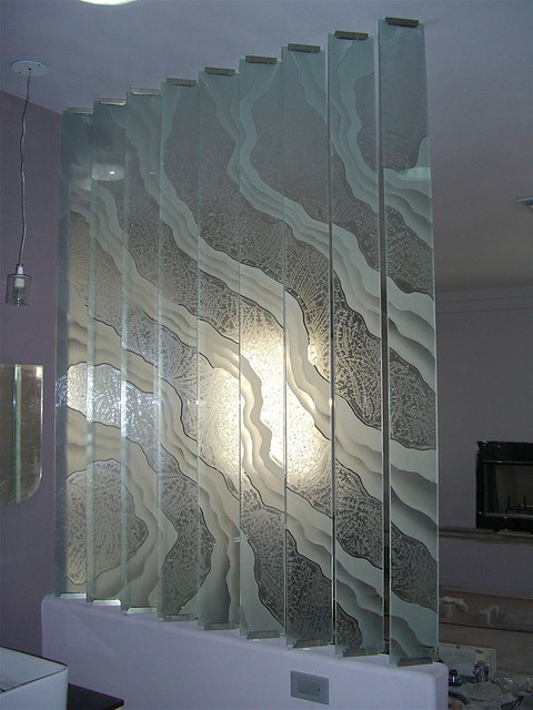 Etched Decorative Art Glass Surges Wall Divider Surges
