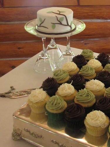 sage  brown  and ivory wedding cupcakes