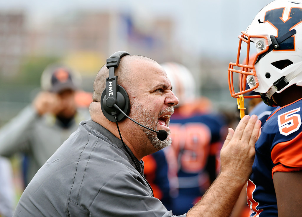 © 2016 by The York Daily Record/Sunday News. William Penn head football coach Russ Stoner speaks to a player during the first half of a YAIAA football game Saturday, Sept. 24, 2016, at Small Field in York.