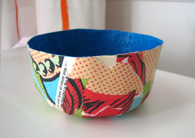 Papier mache bowl bowl made with mod podge and magazine for How to make a newspaper bowl