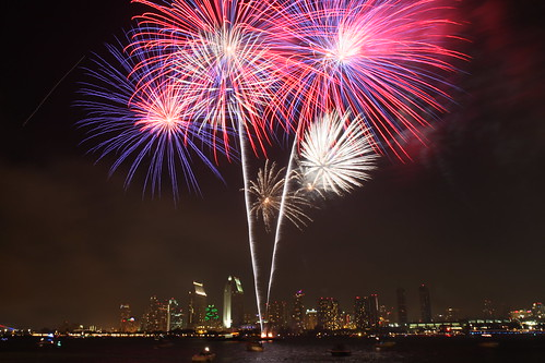 4th of July fireworks over Downtown San Diego