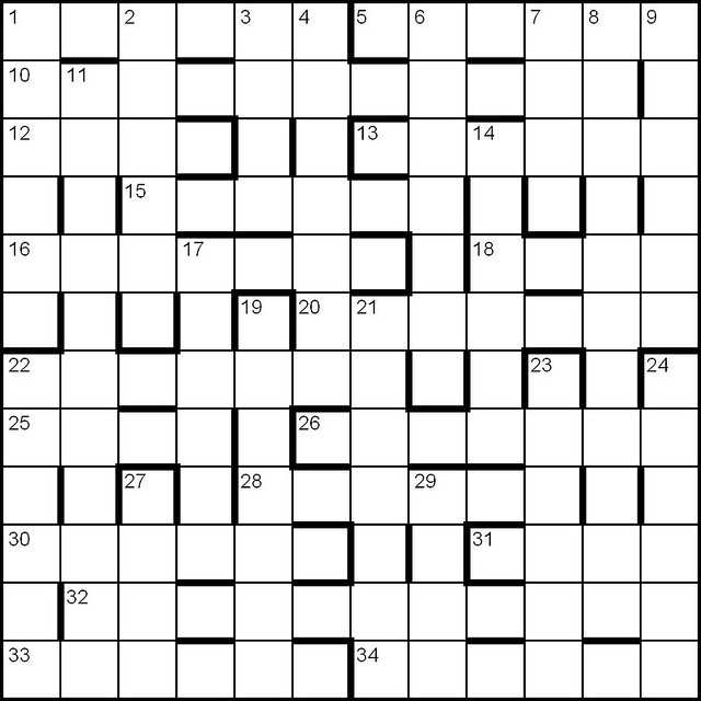 British Barred Cryptic Crossword Grid Blank