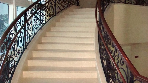 Wrought Iron Staircase Blue Grey Paint