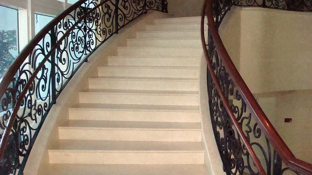 ... Custom Wrought Iron Stairway Railings With Wood Arm Rails On South  Beach, Florida | By