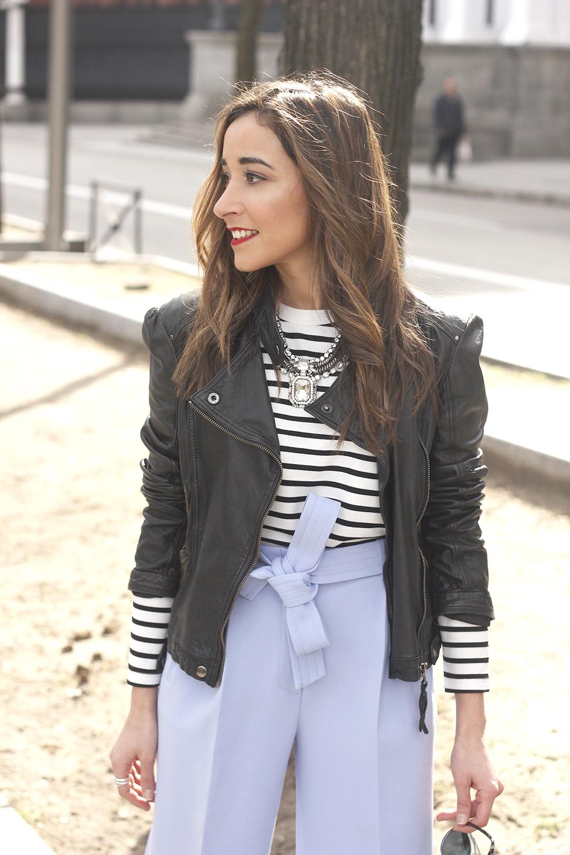 Light Blue Pallazzo pants t-shirt stripes black heels biker jacket dior so real sunglasses outfit style fashion09