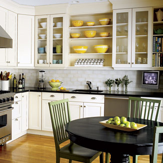 Cheerful kitchen: White cabinets + open shelves + stainles… | Flickr