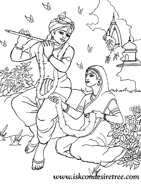 ISKCON desire tree - Colouring Krishna And Radha In Garden ... Holi Pictures For Colouring