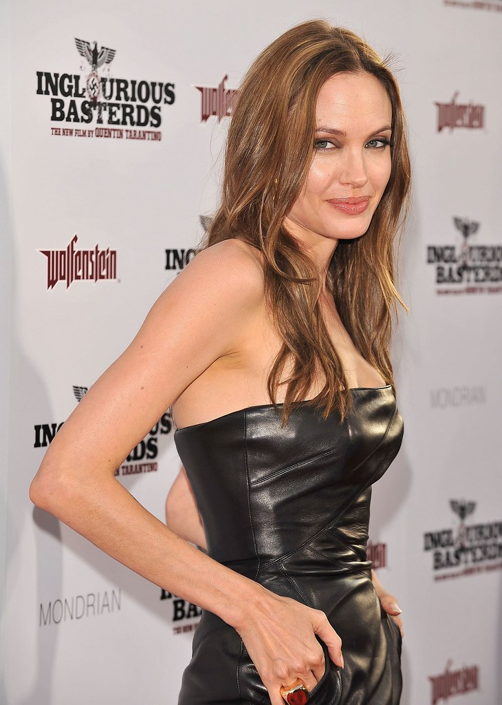angelina leather dress 2 hollywood   august 10 actress an flickr