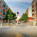 Viv floating on a bike