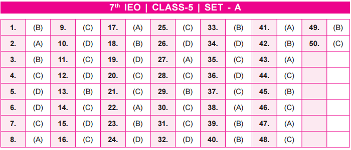 11th IEO 2020 - 2021 Answer Keys for Class 5