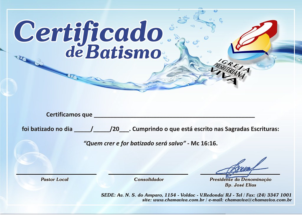 Certificado De Batismo Para IPV Voldac Lu S Fernando X De Mello