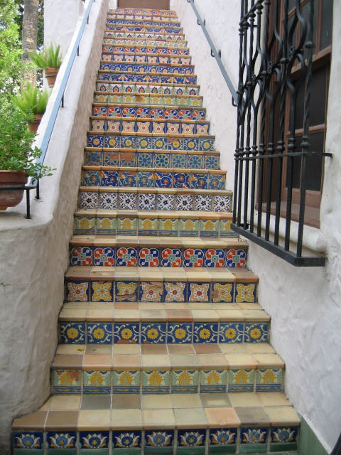 a look at sunas stairs each tiled in a different spanish tile jpg 400 600 pixels home design. Black Bedroom Furniture Sets. Home Design Ideas