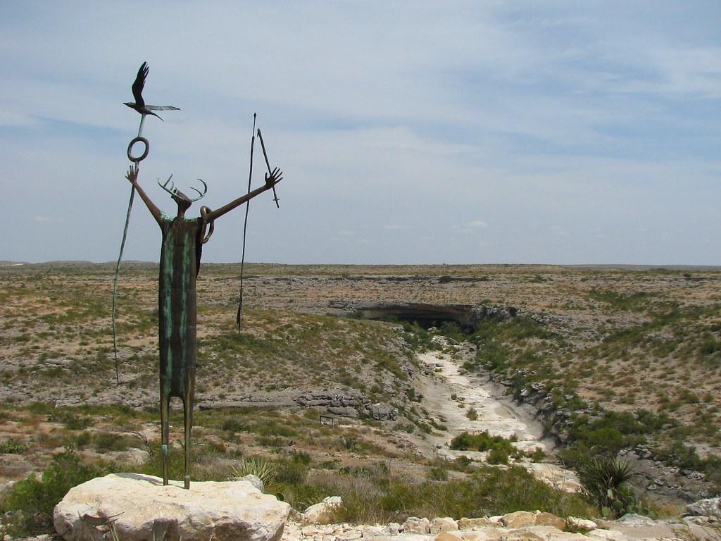 Indian Shaman Statue At Seminole Canyon State Park Texas