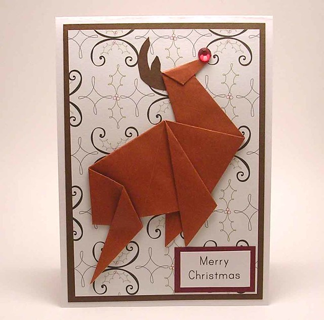 Origami Reindeer Christmas Card | kittykatkards | Flickr - photo#20