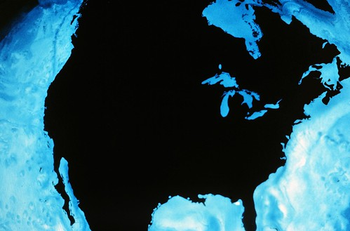 Blue and black satellite photo of North America; shows Great Lakes in relation to rest of country | by NOAA Great Lakes Environmental Research Laboratory