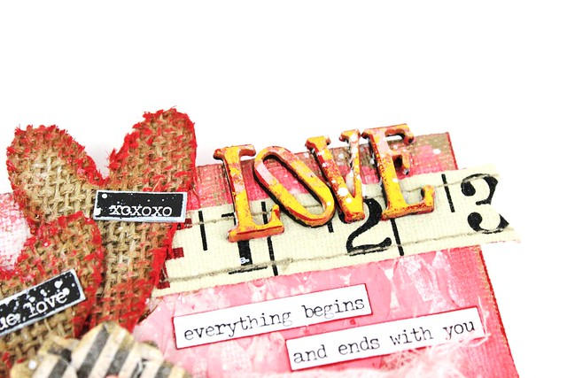 Meihsia Liu Simply Paper Crafts Mixed Media Mini Canvas Love Valentines Simon Says Stamp Monday Challenge Tim Holtz Prima Flowers 4