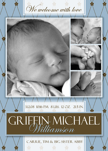 Free photoshop template boy birth announcement for Free online birth announcements templates