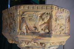 font: winged bull of St Luke