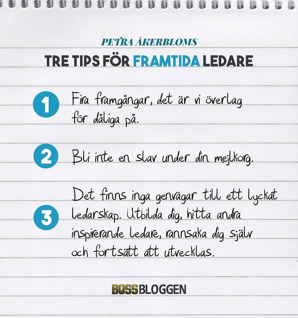 3 tips! Petra Åkerbloms