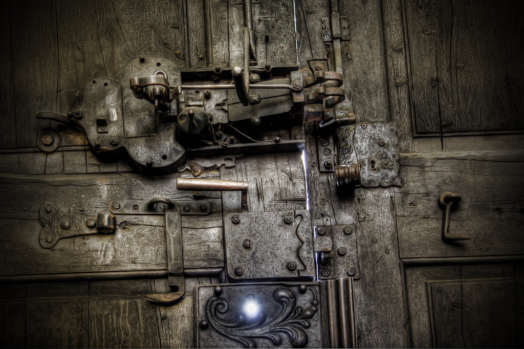 old locks on the door to wizytki church in warsaw hdr flickr