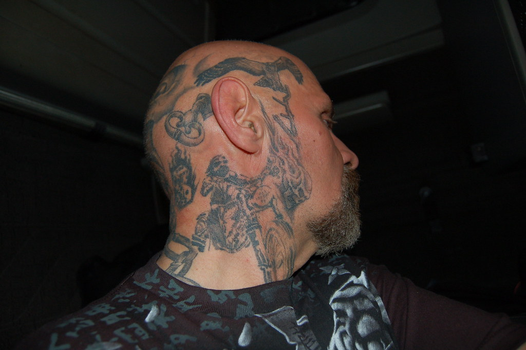 Side Of Face Tattoos: Right Side Of Head, Neck And Face Tattoo