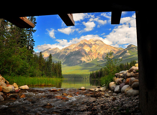 Pyramid Mountain From Under the Bridge | by Bill Gracey