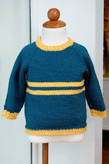 top down pullover in blue and yellow | by LoopYarn