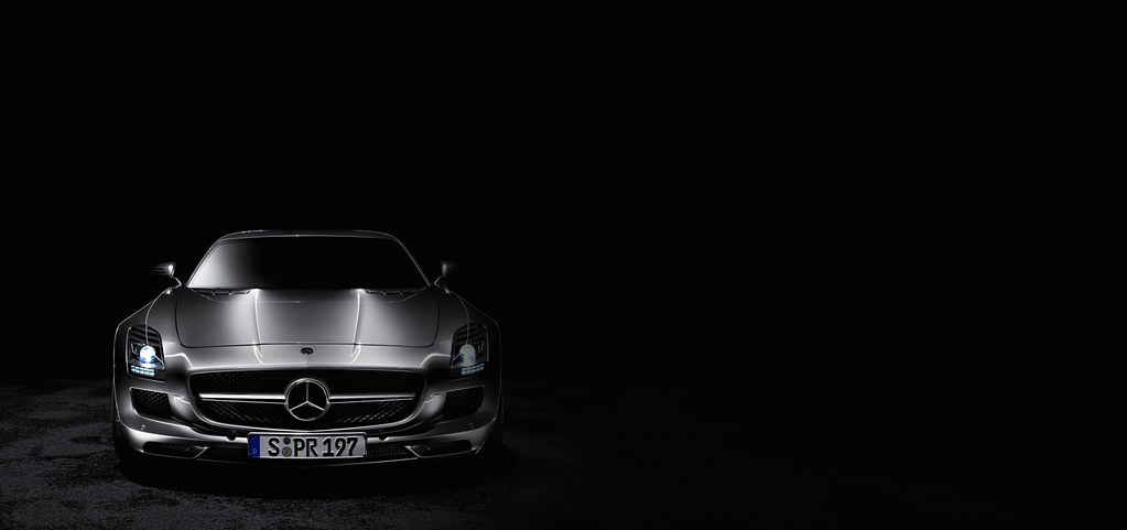 the mercedesbenz sls amg front view black background