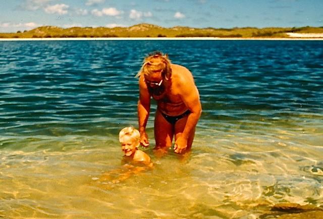Ken and Paul Weaver Rottnest salt lake, Easter 1986