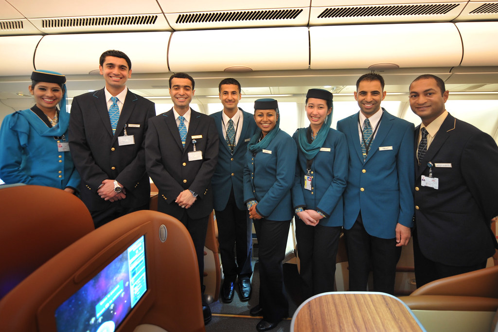 Oman Airbus A330 243 Launch Cabin Crew Onboard Oman Air