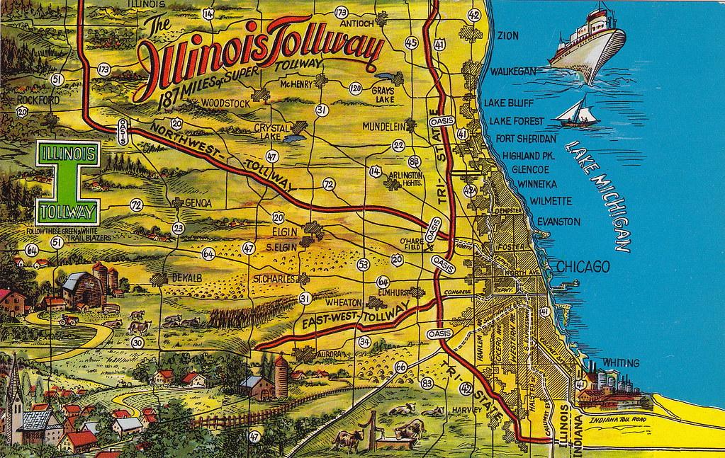 Tollway Illinois Map.Illinois Tollway Map Vintage Postcard Mark Susina Flickr