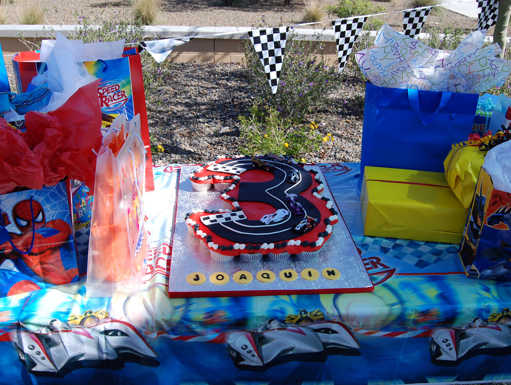 3 shape race car cupcake cake party setup | Read more ...